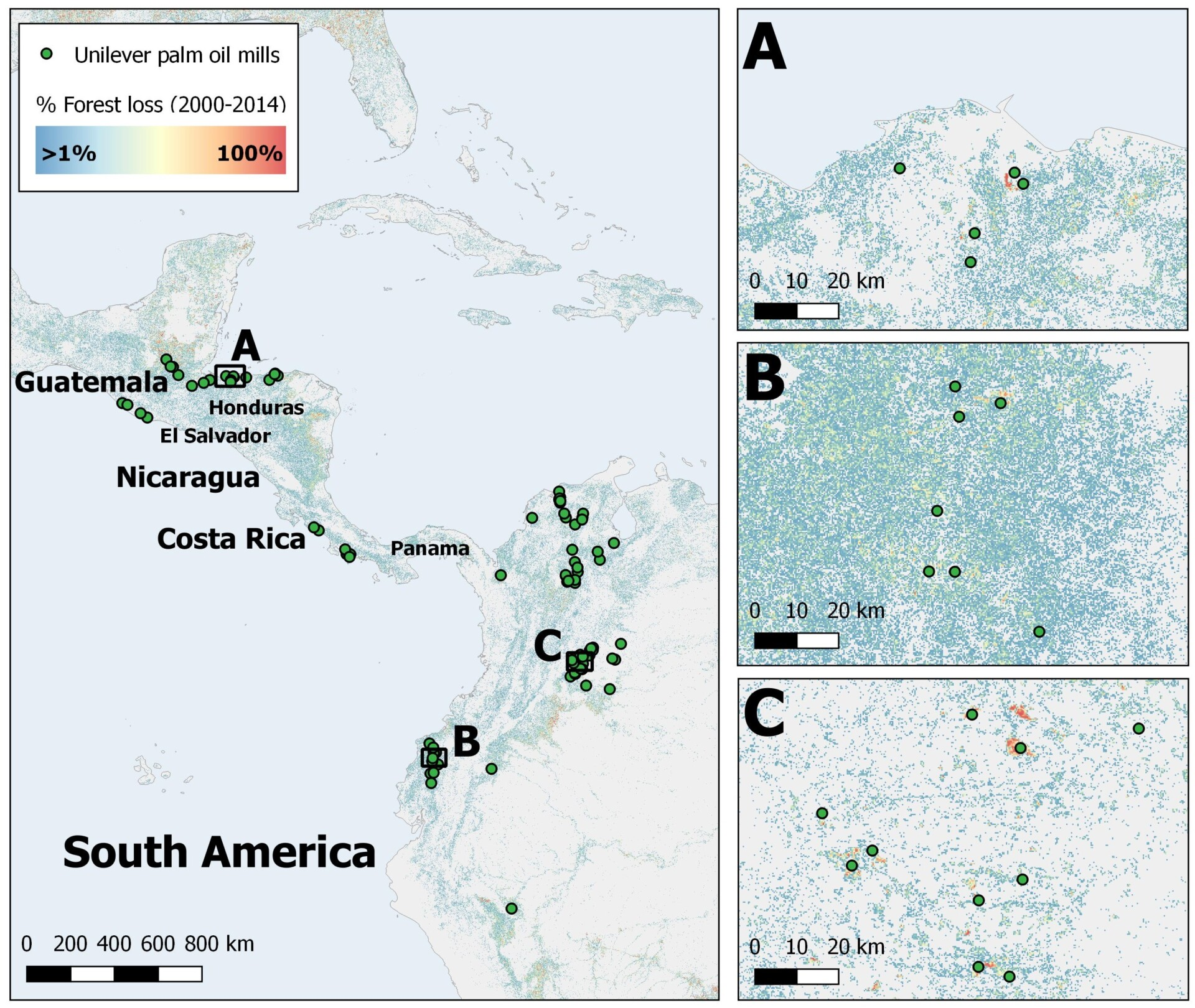 Forest change in South America and others