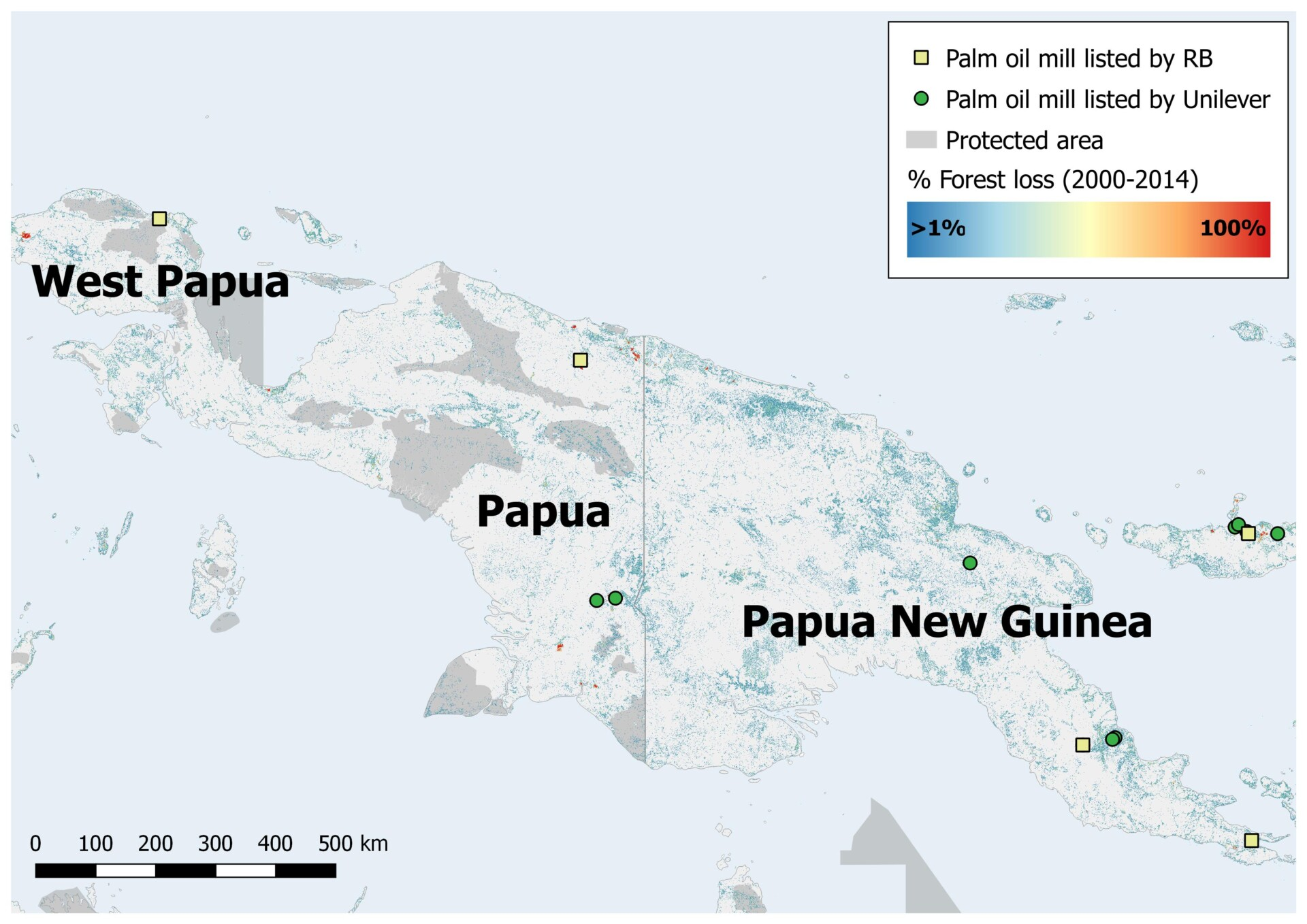 Forest change in Papua and Papua New Guinea