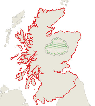 A map showing all of mainland Scotland highlighted, compared to just Cairngorms National Park for hte first round