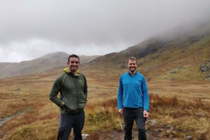 Space Intelligence founders Murray Collins and Ed Mitchard exploring Scottish peatland. Photograph: Kirsty Laughlin