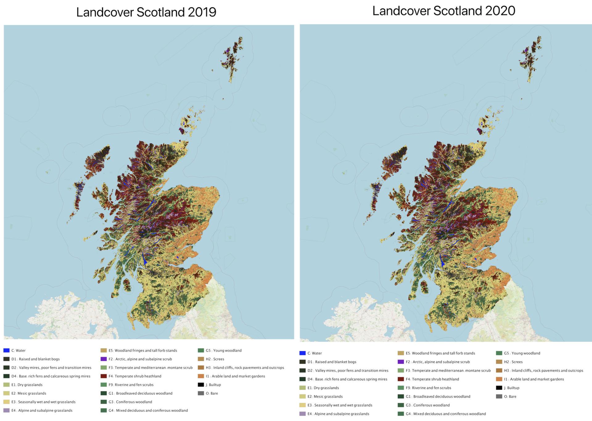 Scottish Landcover Maps 2019 & 2020